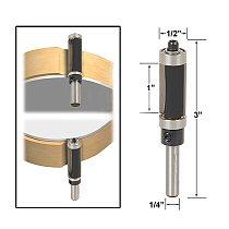 Flush Trim Router Bit Top & Bottom Bearing 1  H X 1/4'' Shank Woodworking Tool