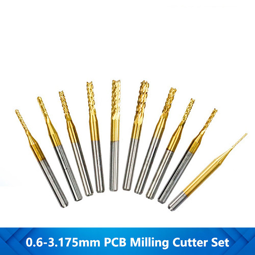 10pcs 0.6-3.175mm CNC Router Bit For Metal Milling PCB Milling Cutter Titanium Coating Carbide End Mill