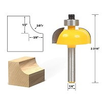 1pcs Cove Edging and Molding Router Bit - 3/8  Radius - 1/4  Shank