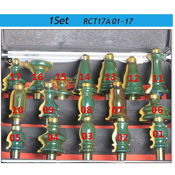 1set RCT171-01~17 high quality CNC engraving machine woodworking milling cutter line cutters router bits