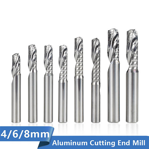 Single Flute End Mill 4/6/8mm Shank CNC Router Bit For Aluminum Cutting Spial Milling Cutter Carbide Milling Bit