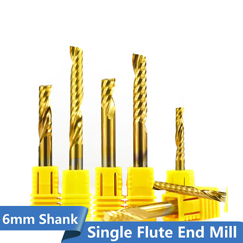1pc 6mm Shank Carbide Spiral End Mill Titanium Coated Single Flute Milling Cutter 1 Flute CNC Engraving Bit End Mill