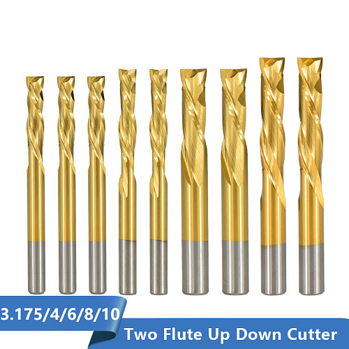 2 Flute Up Down Cutter 3.175/4/6/8/10mm Shank Tianium Coated Carbide End Mill CNC Router Bit Milling Cutter