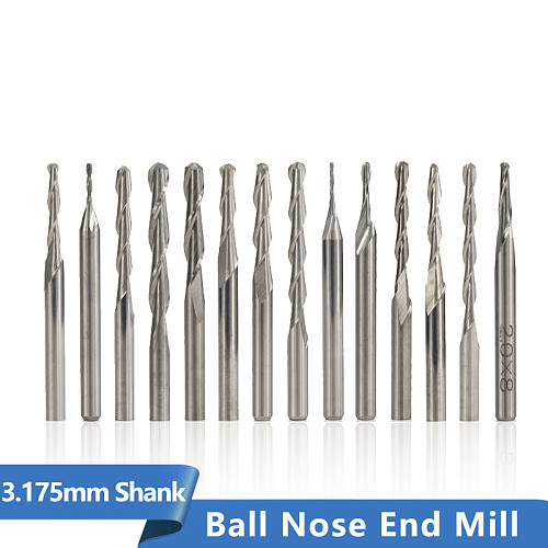 10pcs 3.175mm Shank Ball nose End Mill Set Carbide 2Flute Spiral Router Bits CNC Engraving Milling Cutter