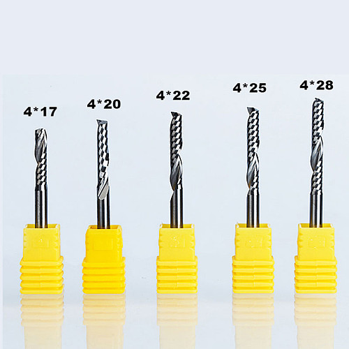 5pcs/lot  Single Flute Spiral Cutter Router Bit  Shank 4mm CNC End Mill For Acrylic Carbide Milling Cutter Tugsten Steel