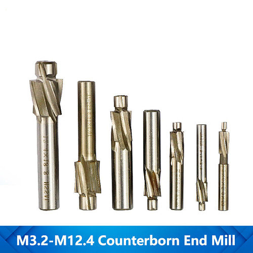 Counterbore Milling Cutter Set High Speed Steel End Mills 7pc M3-M12 CNC Router Bit Pilot Slotting Tool Straight Shank End Mill