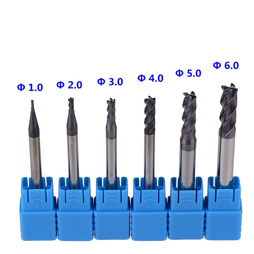 6pcs 1-6mm 4 Flutes HRC45 Solid Tungsten Carbide End Mill CNC Router Bits Tools CNC Milling Cutter Bits for Metal Cutting