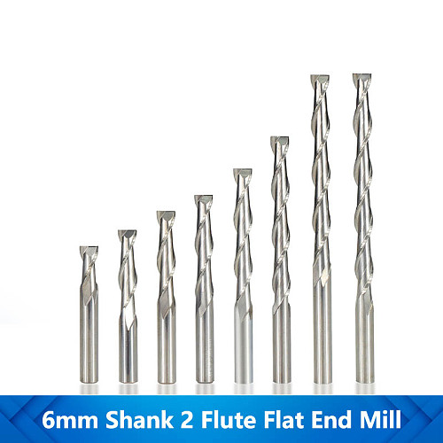 Flat End Mill 2 Flute Router Mill Spiral Router Bits 6mm Shank For Metalworking Milling Drill Tungsten Carbide Milling Cutter