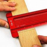 6/8inch Aluminum Scale Ruler T-type Hole Ruler Woodworking Scribing Mark Line Gauge Carpenter Measuring Tool