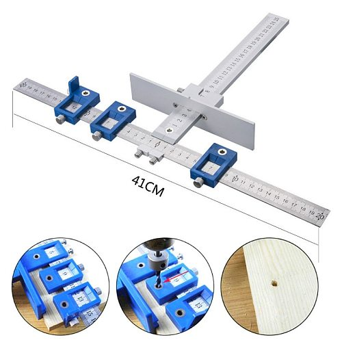Multifun Aluminum Drilling Punching Locator Position Cabinet Hardware Jig Set Drill Guide Adjustable Sliding Nut for Woodworking