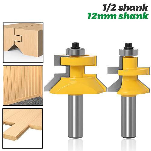 2pc 1/2  Shank V Groove & Matched Tongue Router Bit Set w/ premium ball bearings Woodworking cutter RCT 15217