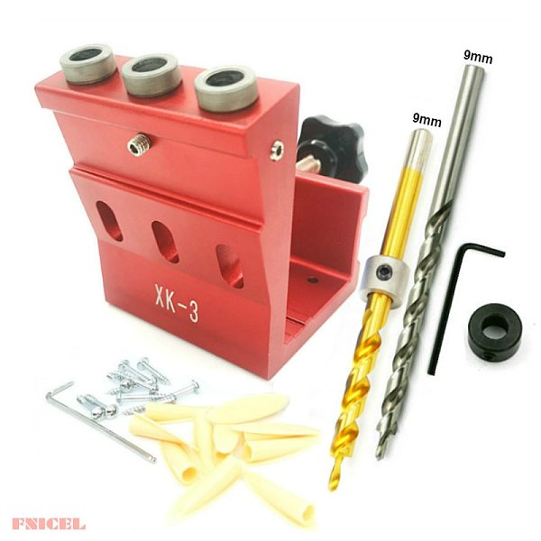9mm Oblique Hole Drill 15 Degree Angle Pocket Hole Puncher Jig Kit Woodworking Guide Clamp Locator Set Kit DIY Tools