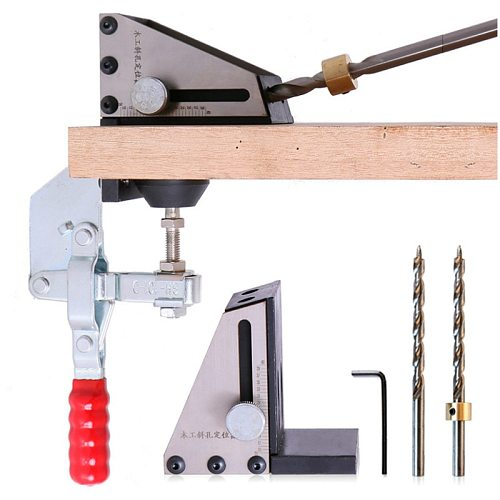 9mm Hole Jig Kit Woodworking Oblique Hole Locator Drill Guide Fixture Puncher Carpenter DIY Tools