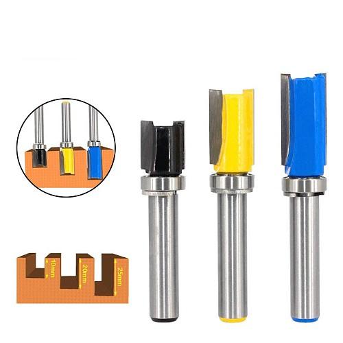 3pcs 8mm Shank Flush Trim Router Bit Pattern Bit Top Bottom Bearing 1/2  Blade Template Wood Milling Cutter Carpenter MC02210