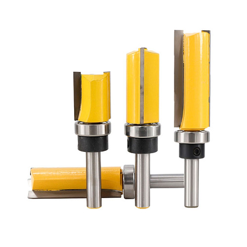 1pc 8mm Shank Bearing Flush Trim Router Bit For Wood Tungsten Carbide End Mill 20/25/38/50mm Woodworking Milling Cutter