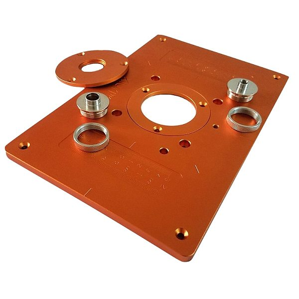 Trimming Machine Flip Plate Aluminum Router Table Insert Plate with Bushing and Cover for Electric Wood Milling Guide Table