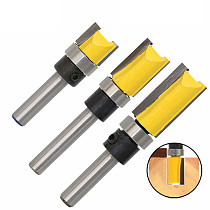 3pcs 1/4'' Flush Trim Router Bit Pattern Bit Top & Bottom Bearing 1/2  Blade Template Edge Wood Trimmer Cutter Carpenter MC01061