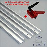1Set Miter Track Stop And Aluminium alloy T-tracks Slot Miter Track Jig Fixture T-Slot Woodworking Tool DIY Manual