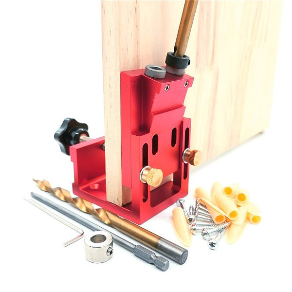 9.0mm Aluminum Pocket Hole Drill Guide Dowel Jig Woodworking Joinery Tools Set for Carpentry Tools