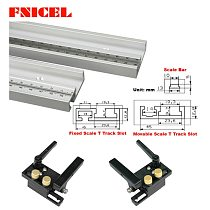 400-800mm Aluminum Alloy T Track Slot with Scale and Miter Track Stop Movable scale T-tracks Router Table Saw Woodworking DIY