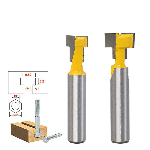 1pc 8mm Shank High Quality T-Slot Cutter Router Bit for 1/4  Hex Bot