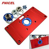 Universal Aluminum Router Table Insert Plate with 2Pcs Insert Ring for Woodworking Bench Tools Wood Router Table