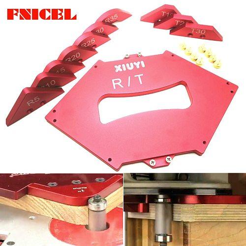 1Set Aluminium Alloy Shape Contour Gauge Angled Ruler T / R Gauge Trimming Machine Fillet Gauge Carpenter Woodworking Tools