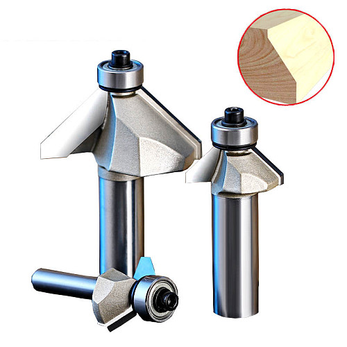45 Deg Chamfer Router Bits with Bearing Chamfering CNC Wood Cutting Tools 1/4 1/2 Shank Woodworking Milling Cutter