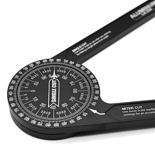 Aluminum Miter Saw Protractor | Woodworking 7-Inch Rust Proof Angle Finder Featuring Precision Laser Engraved Scales