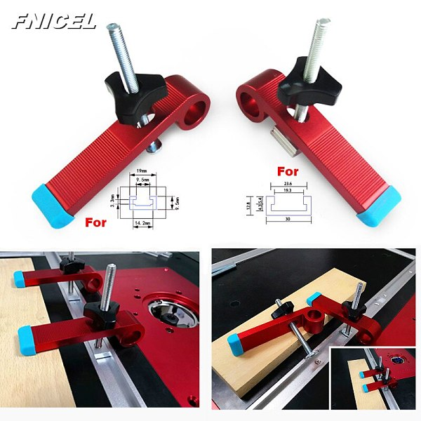 1Set Universal Clamping Blocks Platen Miter Track Clamping Blocks M8 Screw Woodworking Joint Hand Tools  Set