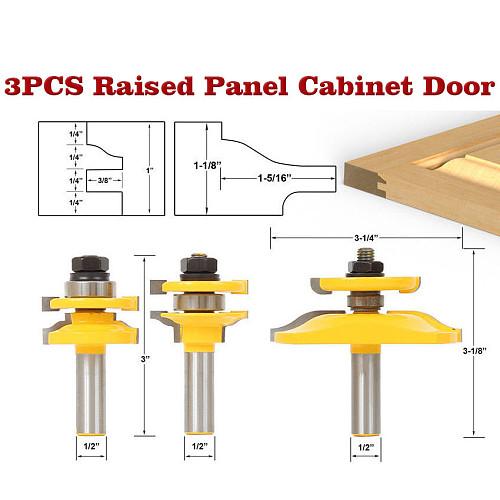 3 Bit Raised Panel Cabinet Door Router Bit Set- Bevel-1/2  Shank 12mm shankWoodworking cutter Tenon Cutter for Woodworking Tools