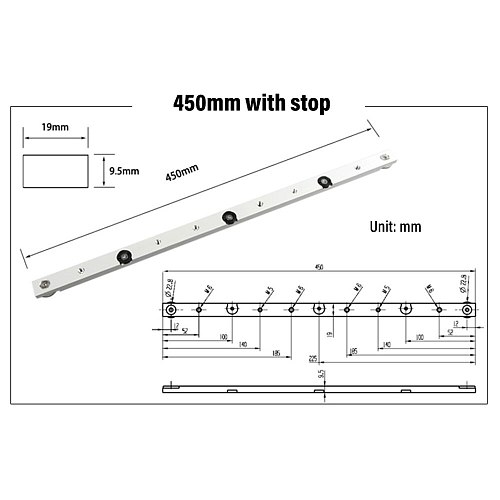 300 / 450 / 650mm Miter Bar Aluminum Slider Table Saw Gauge Rod Woodworking Tool Suitable For T-Slot And T-Track