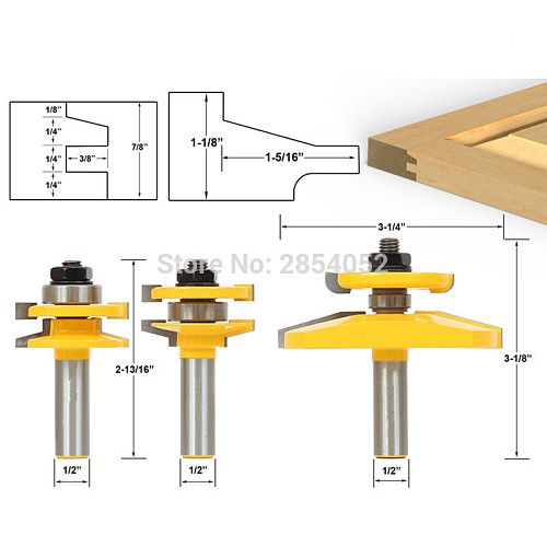 3 Bit Raised Panel Cabinet Door Router Bit Set- Bevel- 1/2  Shank Woodworking cutter Tenon Cutter for Woodworking Tools