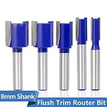 Flush Trim Router Bit 8mm Shank Carbide Milling Cutter Wood Straight End Mill For Woodworking Flush Trim Tenon Cutter