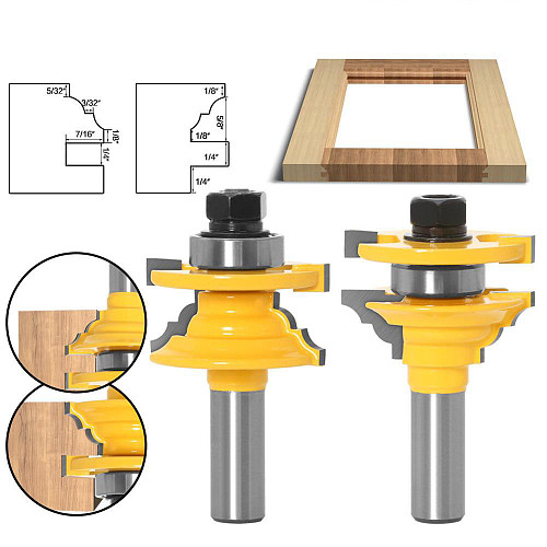 2pcs 12mm 1/2  Shank Woodwork Door Round Corner Rail & Stile Router Bit Tenon Milling Cutter for Wood Woodworking Tools