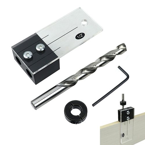 1/2'' 3/8'' 1/4'' Dowel Drilling Jig Kit Pocket Hole Jig Acrylic Faces Drill Guide Hole Locator DIY Woodworking Carpentry Tools