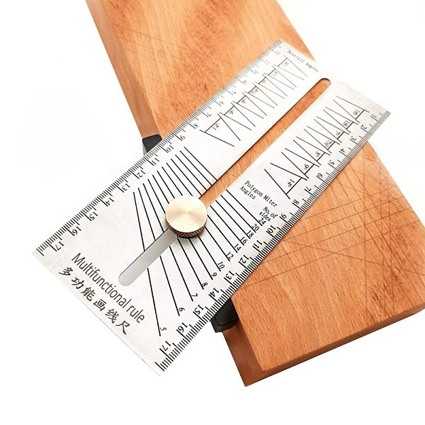 Woodworking Scribe Miter Angle Ruler Stainless Steel Dovetail Marking Jig Marking Gauge Polygon Bevel Angles Marking T-Ruler