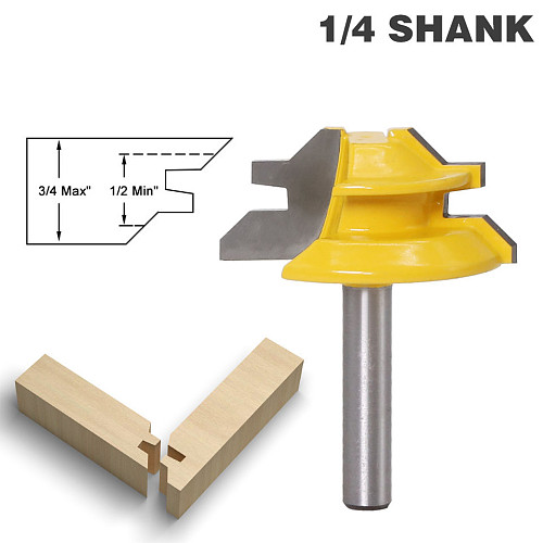 1Pc 45 Degree Lock Miter Router Bit 8Inch Shank Woodworking Tenon Milling Cutter Tool Drilling Milling For Wood Carbide Alloy