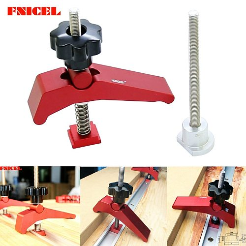 Aluminum Alloy T Track Metal Hold Down Block Clamp T-Slot T-Track Clamp Set Woodworking Tool for Router Table