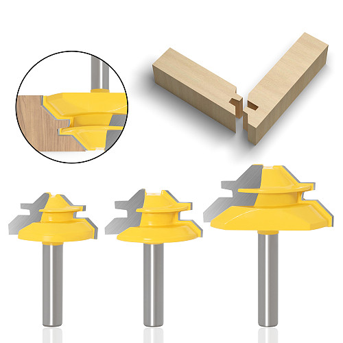 3Pc 8MM 45 Degree Lock Miter Router Bit Tenon Milling Cutter Woodworking Tool For Wood Tools
