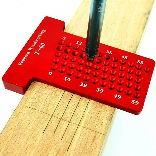 T60 Woodworking Hole Scriber Ruler Aluminum Alloy T-shaped Ruler Woodworking Mini Scriber Crossed Measuring Tools