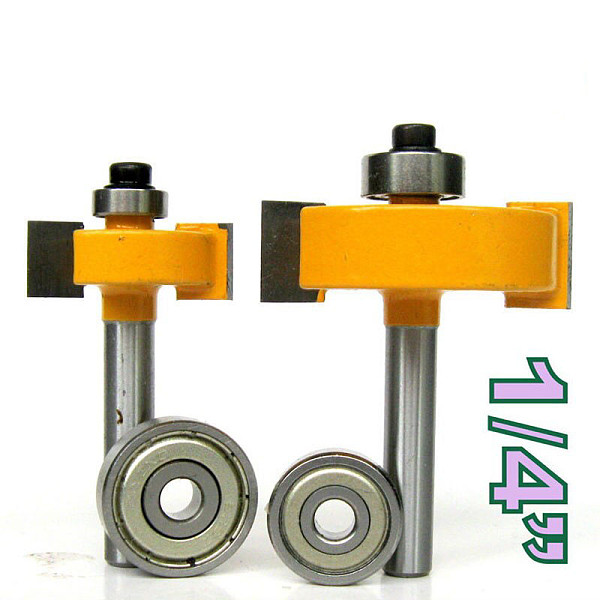 2 pc 1/4 Shank 1/2, 3/8 Rabbeting & Slotting Router Bit w/2pc Bearings Set  woodworking cutter woodworking bits