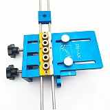 4 In 1 Hole Tenon Punching Locator Dowelling Jig for Furniture Plate Punch Woodworking Drill Guide Kit Locator Aluminium Alloy