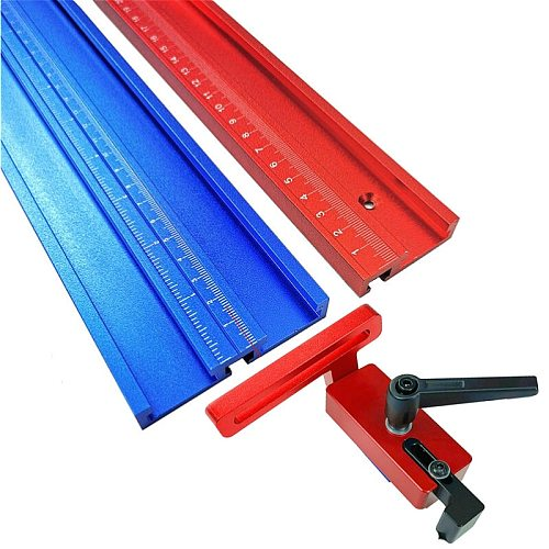 Woodworking Tools Chute Aluminium Alloy T-tracks 800mm T Slot w/ Scale and Standard Miter Track Stop for Workbench Router Table