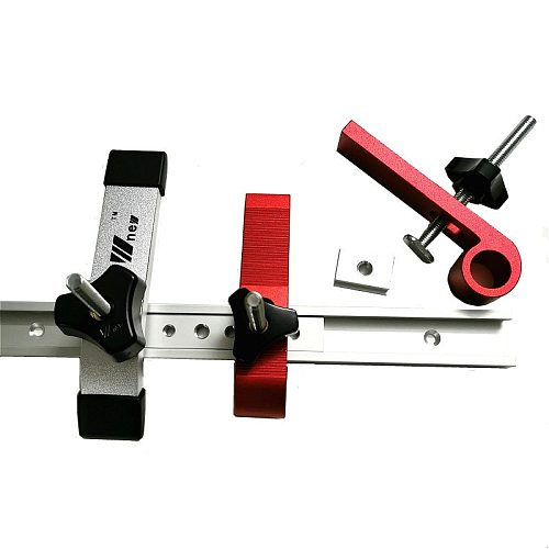 Woodworking T Slot Block Clamp and Miter Track Slider Bar Carpentry Pressboard Clamp Kit Positioning Limiter Miter Clip Device