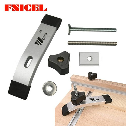 Woodworking T Track Slider M8 T Screw M8 Nut Saw Table Acting Hold Down Clamp for T-Slot T-Track Wood Work DIY Tools