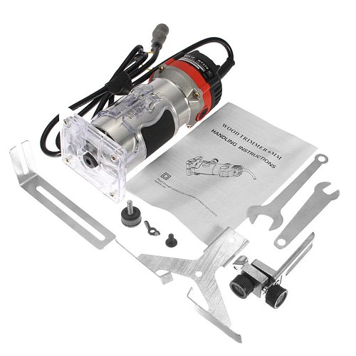 Quality 220V 35000RPM 530W 1/4'' Electric Hand Trimmer Wood Laminator Router Tool Set