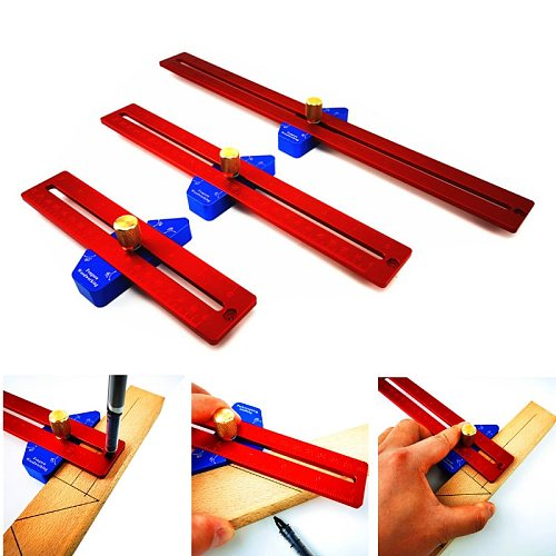 Aluminum Alloy 200/300/400mm Metric Line Scribe Ruler Positioning Measuring Ruler Woodworking Marking T-Ruler Tool
