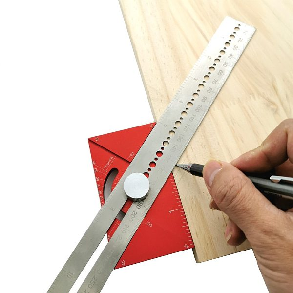Dividing Line Ruler Angle Ruler Multi-function Scribing Ruler T-type Hole Ruler Woodworking Scribing Mark Line Gauge