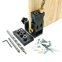 Oblique Pocket Hole Jig Locator Kit w/ Gripper 9mm Drill Bit Doweling Jig Hole Puncher For Angle Drill Guide Woodworking Tools